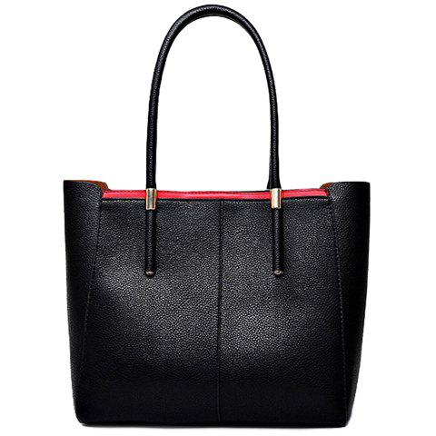 Trendy Colour Block and Metallic Design Shoulder Bag For Women - BLACK