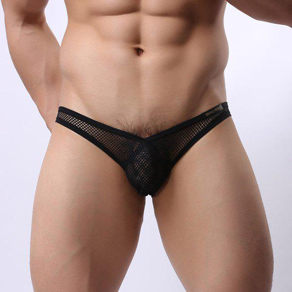 New Style Hollow Out U Convex Pouch Design Men's V Briefs - BLACK S