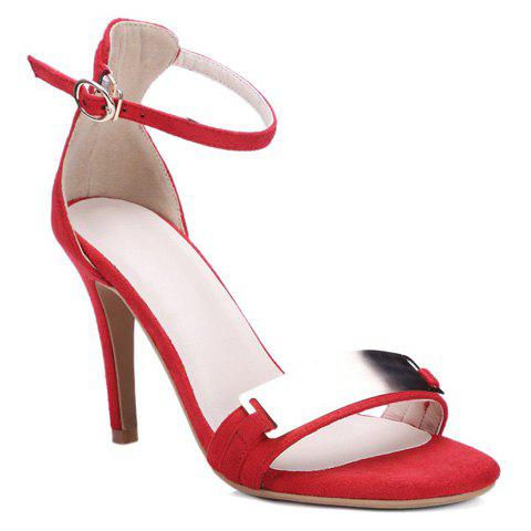 Fashionable Flock and Metal Design Sandals For Women - RED 37