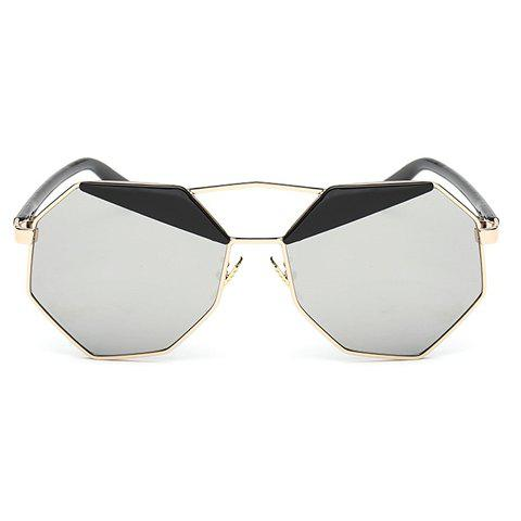 Chic Black Brow and Polygon Frame Design Women's Sunglasses - SILVER