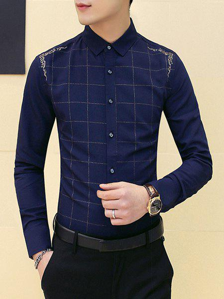 Slimming Round Collar Checked Shirt For Men - CADETBLUE L