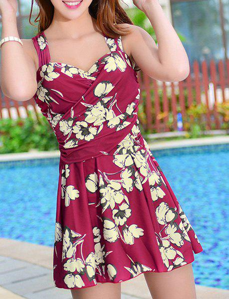 Fresh Style Criss-Cross One-Piece Floral Swimwear For Women - M WINE RED