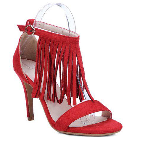 Trendy Ankle Strap and Fringe Design Women's Sandals - RED 39