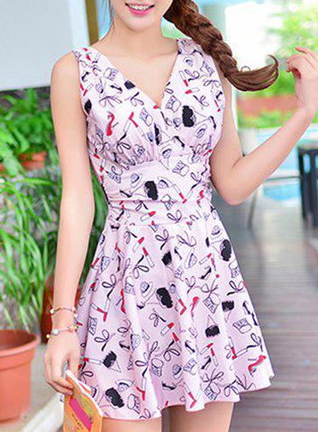 Cute High Waist Printed One-Piece Dress Swimwear For Women - PINK M