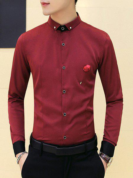 Slimming Splicing Flower On Chest Shirt For Men - WINE RED M