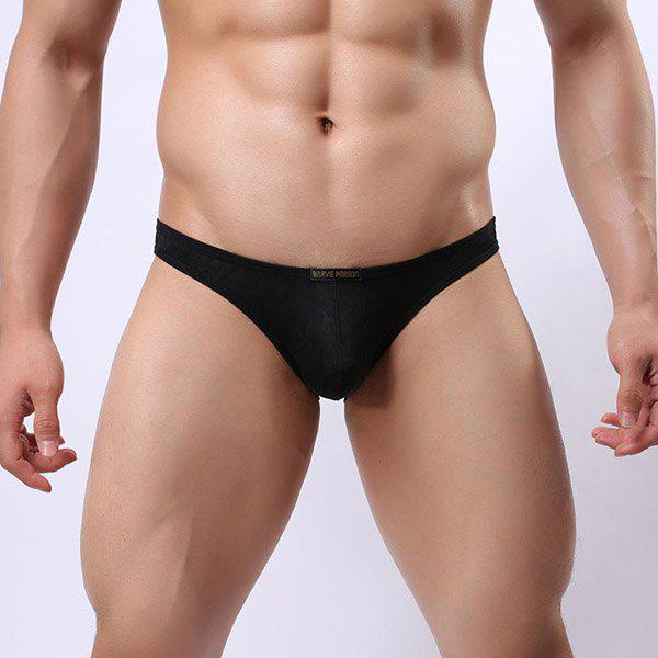New Style Elastic Waist Solid Color Lace Jacquard Men's U Convex Pouch Briefs - BLACK M
