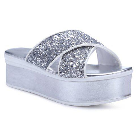 Fashionable Cross Straps and Sequined Cloth Design Women's Slippers - SILVER 34
