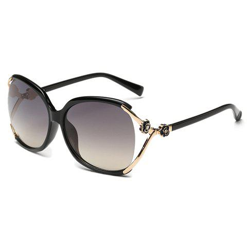 Chic Flower Shape and Hollow Out Embellished Women's Sunglasses - BLACK