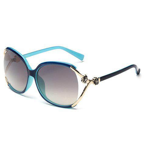Chic Flower Shape and Hollow Out Embellished Women's Black and Blue Sunglasses - BLUE/BLACK