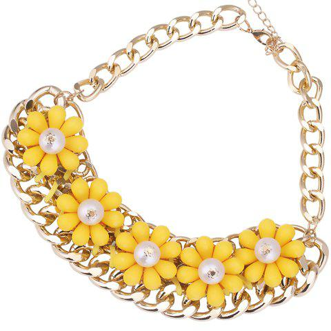 Stylish Faux Pearls Flower Decorated Chain Necklace For Women