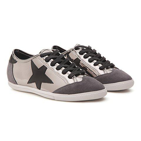 Stylish Star and Splicing Design Women's Athletic Shoes - 36 GUN METAL