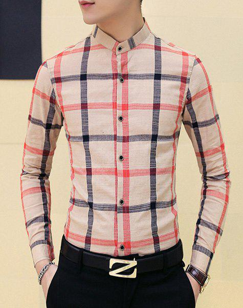 Slimming Stand Collar Plaid Shirt For Men - NUDE 2XL
