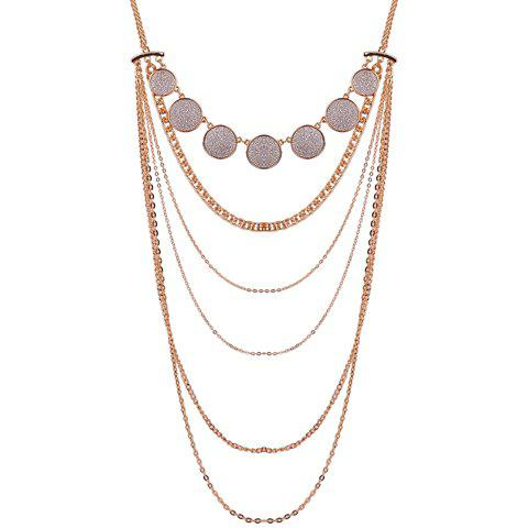 Coin Glitter Powder Multilayer Pendant Necklace