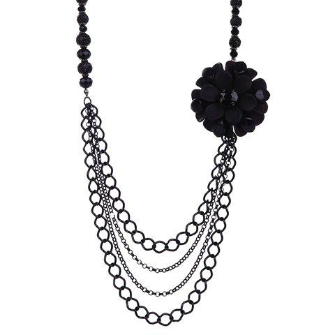 Faux Crystals Flower Multilayer Pendant Necklace - BLACK