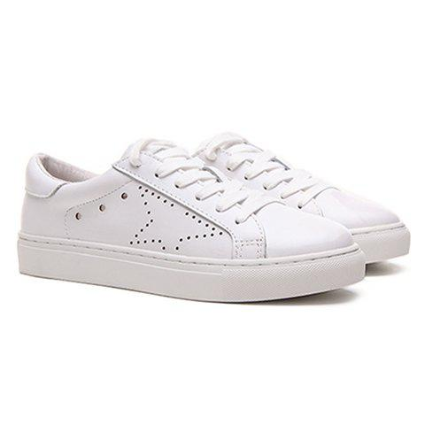 Simple Lace-Up and PU Leather Design Athletic Shoes For Women - WHITE 39