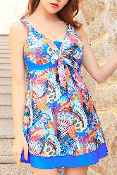 Cute Peacock Print High Waist One-Piece Dress Swimwear For Women - BLUE XL