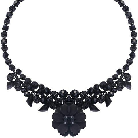 Flower Fruits Faux Crystals Pendant Necklace - BLACK