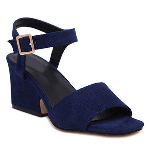 Stylish Solid Colour and Suede Design Women's Sandals - BLUE 38