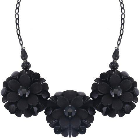 Flowers Faux Crystals Pendant Necklace