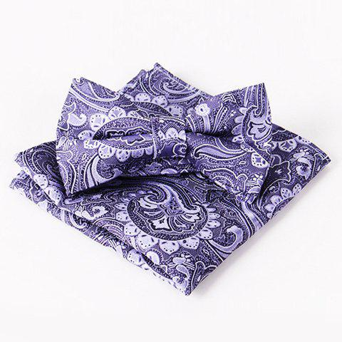 Stylish Men's Arabesque Jacquard Ethnic Bow Tie and Handkerchief - DEEP PURPLE