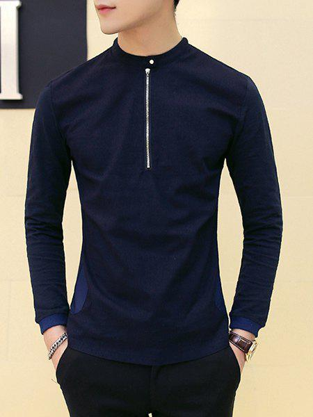 Solid Color Half Zip Pullover Long Sleeves T-Shirt For Men - CADETBLUE 2XL