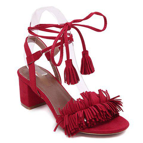 Fashionable Solid Colour and Fringe Design Women's Sandals - RED 38