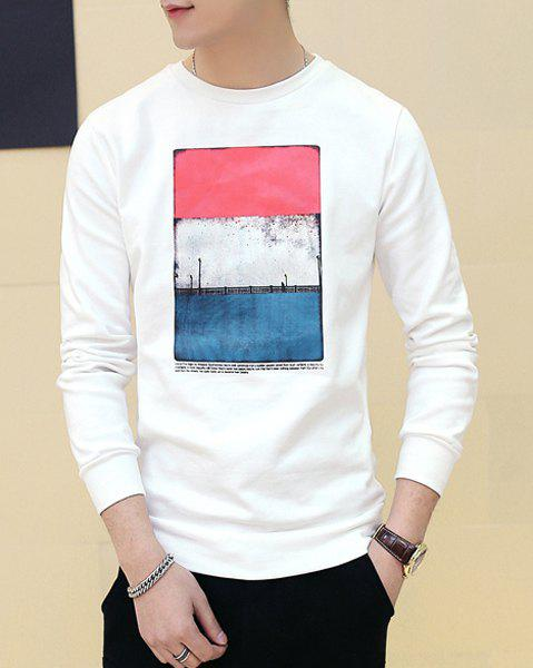 Slim Fit Pullover Printing Long Sleeves T-Shirt For Men - WHITE M