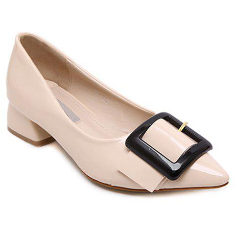 Fashionable Buckle and Patent Leather Design Women's Flat Shoes - APRICOT 35