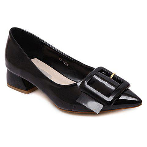 Stylish Black Color and Buckle Design Women's Flat Shoes - BLACK 39