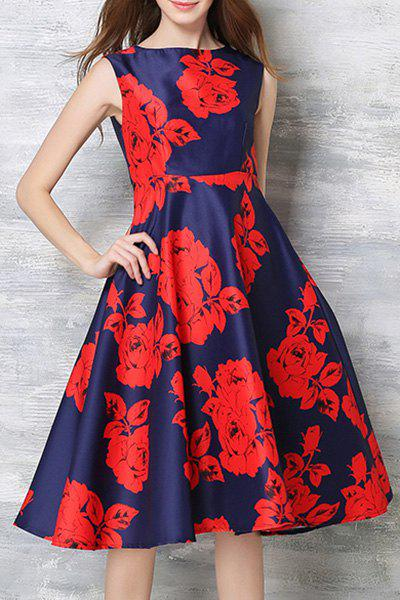 Vintage Round Collar Sleeveless Floral Print High-Waisted Women's Dress - RED XL
