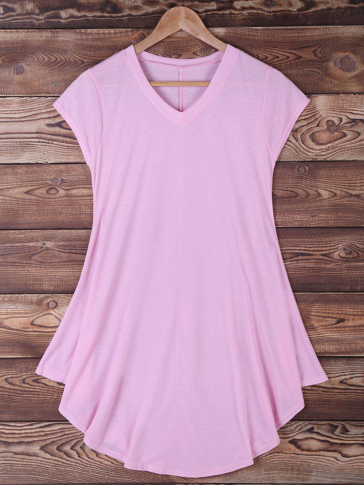 Cap Sleeve Mini Dress - PINK S