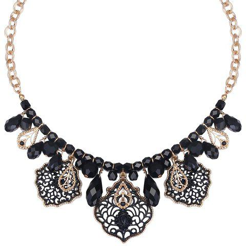 Hollow Out Faux Crystals Necklace - BLACK/GOLDEN
