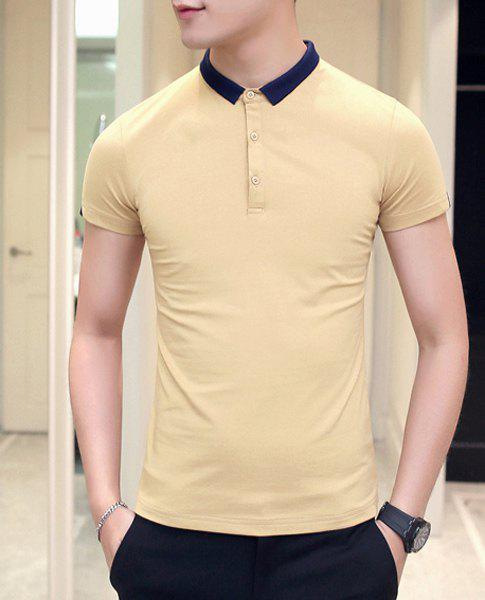 Slimming Short Sleeves Pullover Polo T-Shirt For Men - YELLOW L