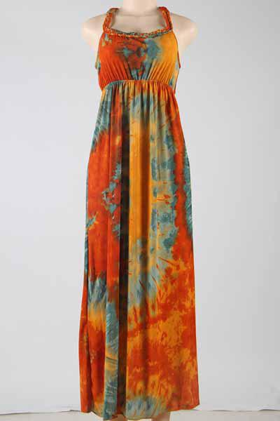 Stylish Women's Scoop Neck Sleeveless Tie Dyed Maxi Dress