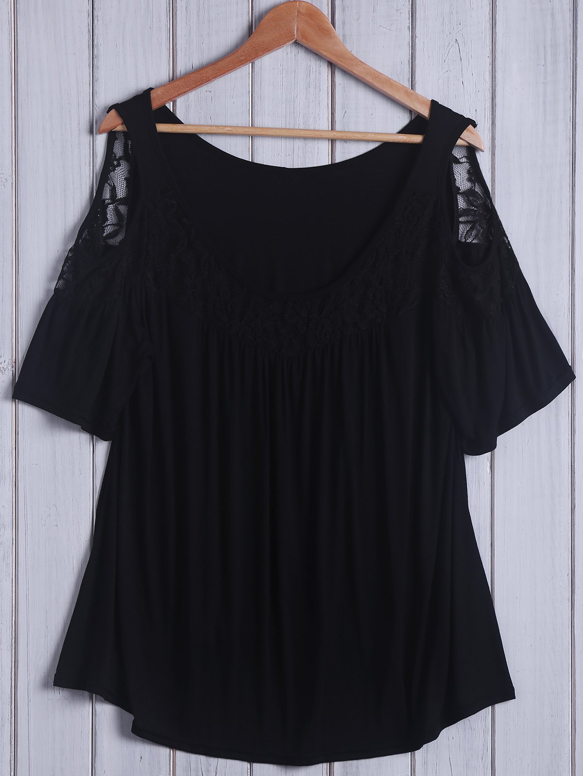 Lace Insert Plus Size Cold Shoulder Top - BLACK XL