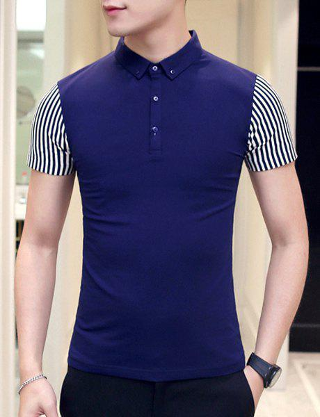 Slimming Short Sleeves Striped Pullover Polo T-Shirt For Men - CADETBLUE 2XL