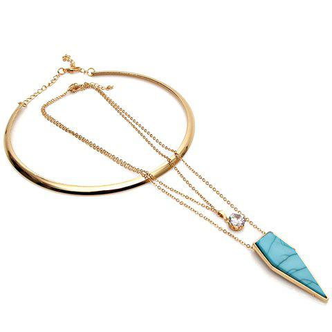 A Suit of Vintage Rhinestone Faux Turquoise Triangle Necklaces For Women