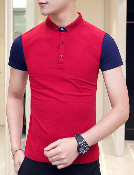 Slimming Splicing Pullover Short Sleeves Polo T-Shirt For Men - RED 2XL