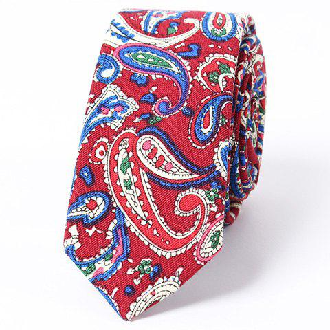 Stylish Men's Ethnic Paisley Jacquard Red Tie and Handkerchief