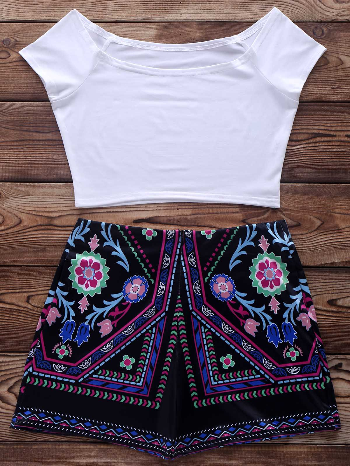 Short Sleeve Crop Top and Ethnic Print Short Suit - WHITE M