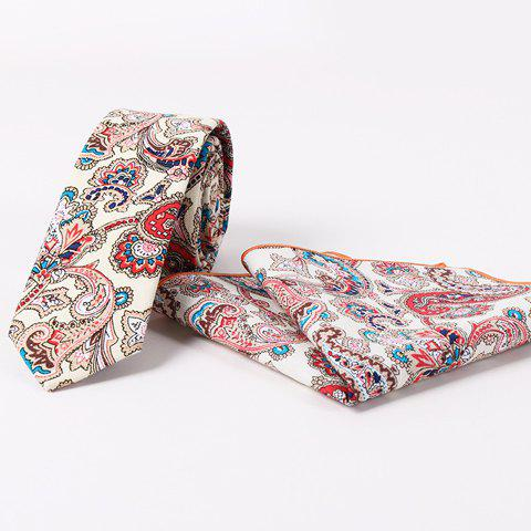 Stylish Men's Ethnic Paisley Jacquard Beige Tie and Handkerchief