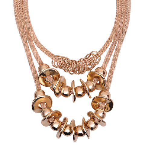 Delicate Multilayered Alloy Beads Necklace For Women - GOLDEN