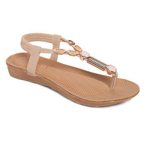 Casual Flip Flop and Metal Design Women's Sandals - OFF WHITE 37