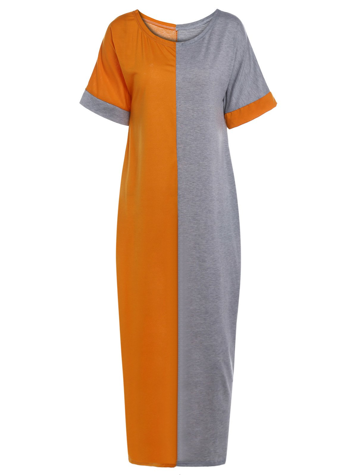 9a0721150b7 Dresslily ·  14.52 · Stylish Round Neck Half Sleeve Color Block Loose Dress  For Women