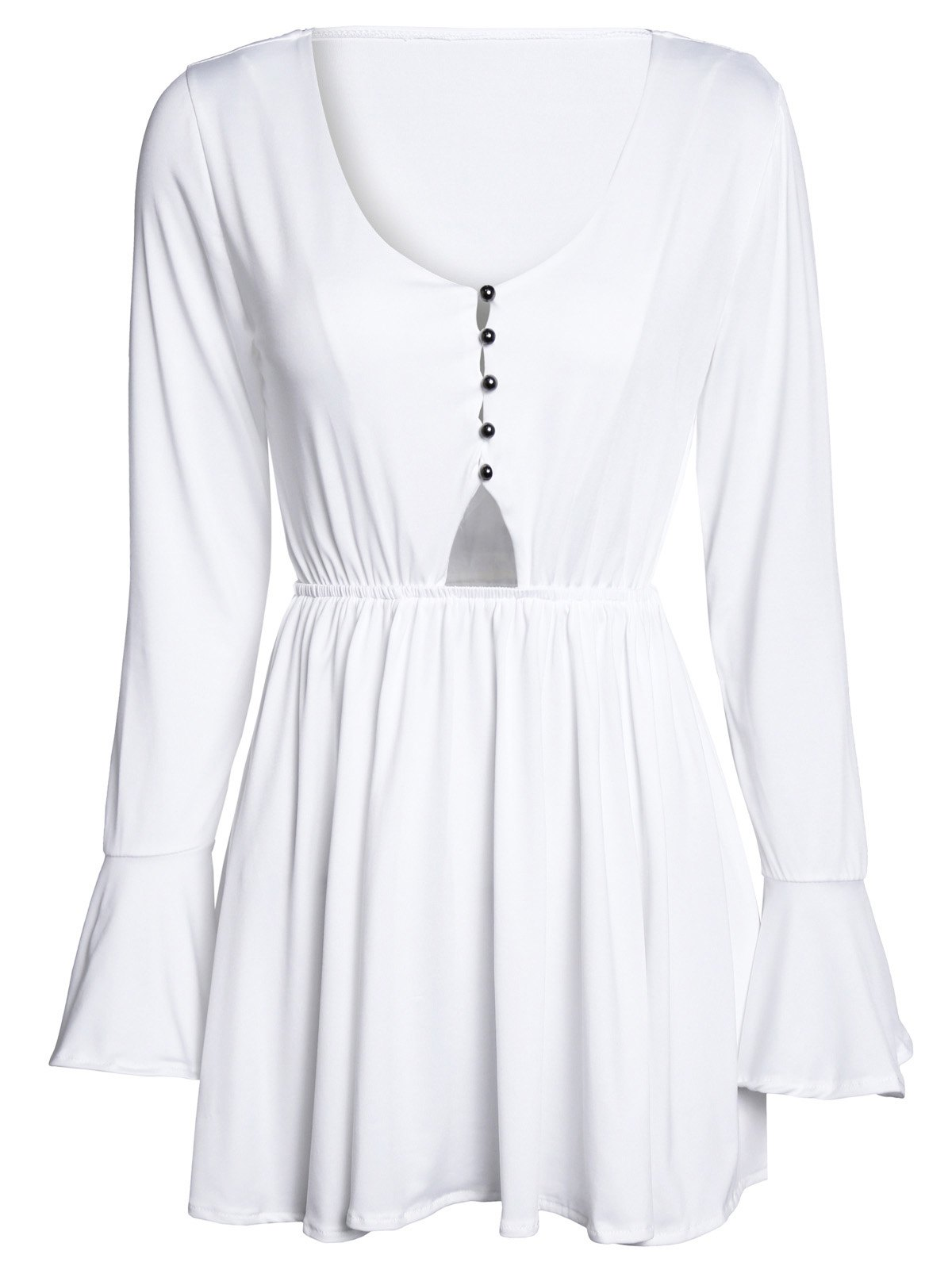 Stylish Flare Sleeve V Neck White Hollow Out Mini Dress For Women - WHITE M