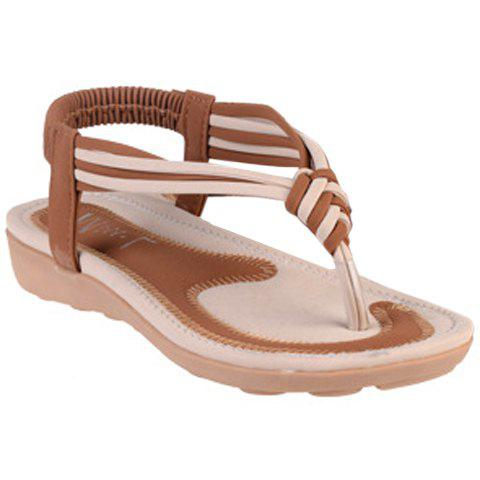 Concise Elastic and Color Block Design Women's Sandals