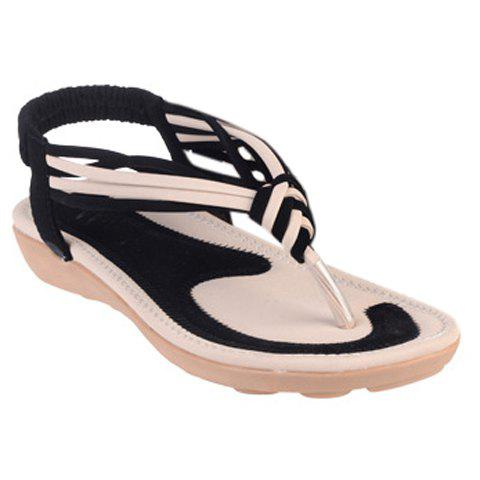 Concise Elastic and Color Block Design Women's Sandals - BLACK 36