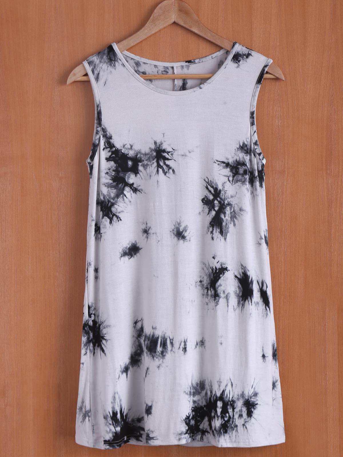 Casual Oil Print Sleevless Round Neck Women's Dress - WHITE S