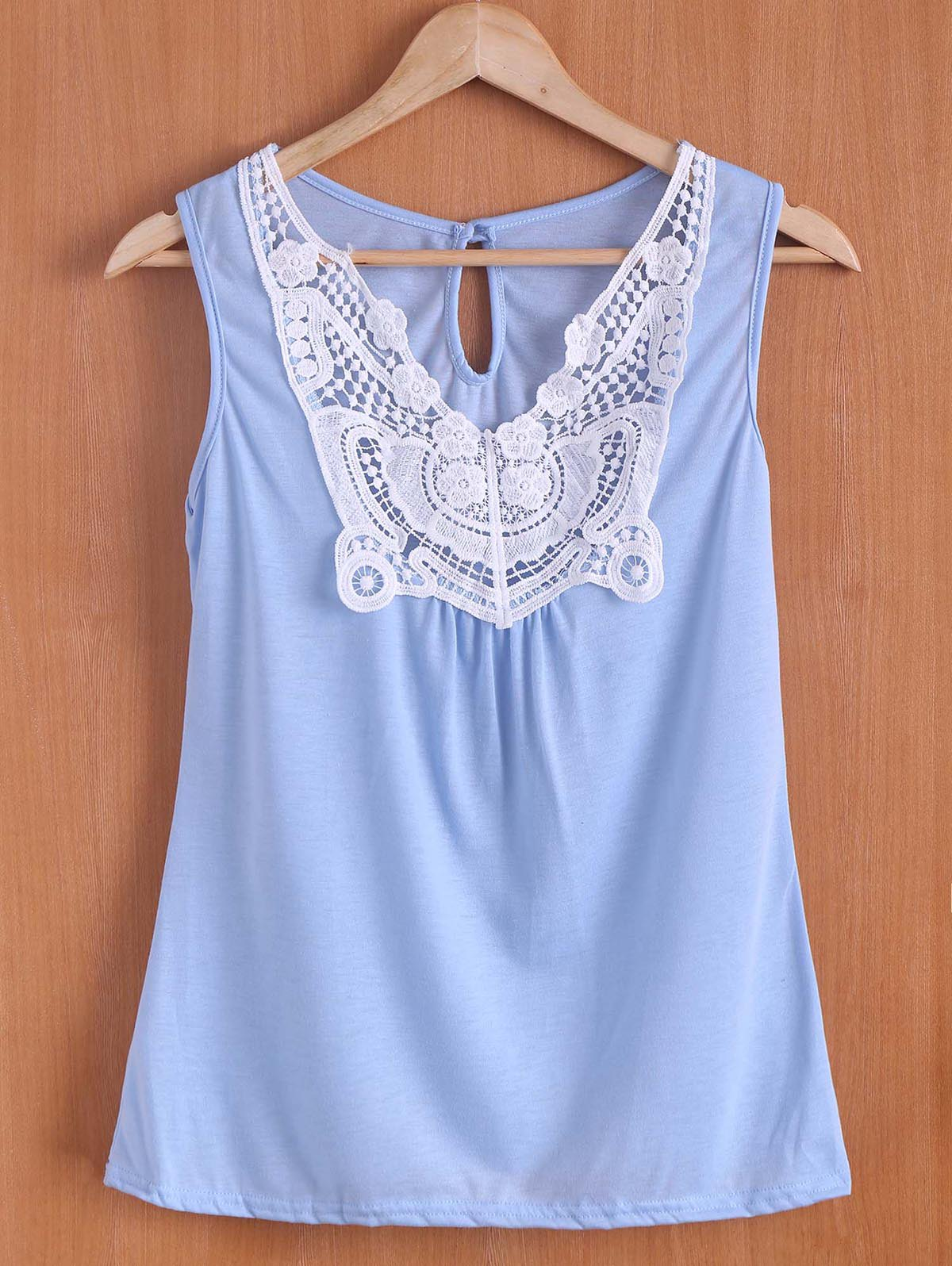 Stylish Sleeveless Scoop Neck Spliced Women's Tank Top - LIGHT BLUE S