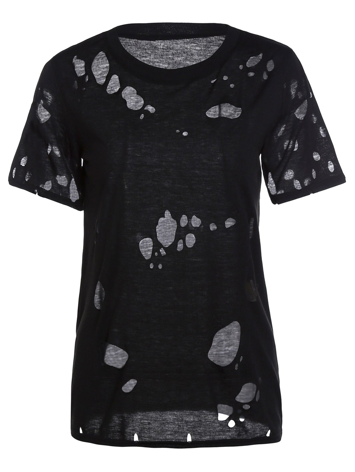 Trendy Short Sleeve Round Collar Solid Color Broken Hole Women's T-Shirt - BLACK M
